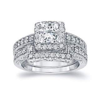 Auriya 14k Gold 1 3/4ctw Vintage Princess-cut Halo Diamond Engagement Ring Set