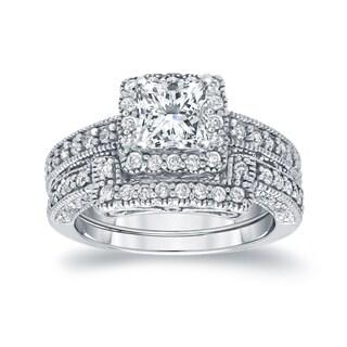 Auriya 14k White Gold 1 3/4ct TDW Certified Princess-cut Diamond Square Halo Bridal Ring Set