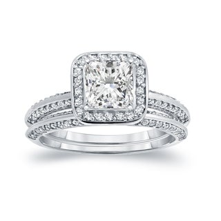 Auriya 14k White Gold 1 1/2ct TDW Certified Princess-cut Diamond Halo Bridal Ring Set