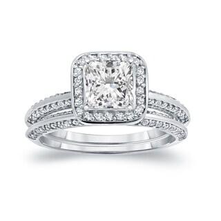 Auriya 14k White Gold 1 1/2ct TDW Certified Princess-cut Diamond Halo Bridal Ring Set