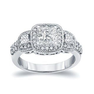 Auriya 14k White Gold 1 1/2ct TDW Vintage Inspired 3-Stone Halo Diamond Engagement Ring