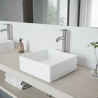 VIGO Dianthus Matte Stone Vessel Sink and Seville Brushed Nickel Bathroom Vessel Faucet - White