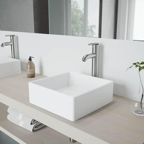 VIGO Dianthus White Vessel Bathroom Sink Set with Seville Faucet