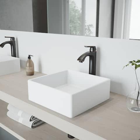 VIGO Dianthus Matte Stone Vessel Bathroom Sink Set and Linus Faucet