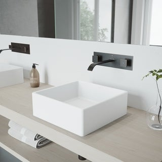 VIGO Bavaro Composite Vessel Sink and Titus Antique Rubbed Bronze Finish Dual Lever Wall Mount Faucet w/ Pop Up