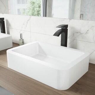 VIGO Navagio Matte Stone Vessel Sink and Duris Bathroom Vessel Faucet in Matte Black - White
