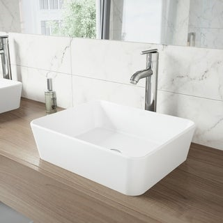 VIGO Sirena Matte Stone Vessel Sink and Seville Bathroom Vessel Faucet in Chrome
