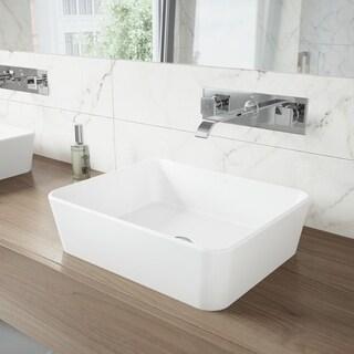 VIGO Marigold Matte Stone Vessel Sink and Titus Chrome Finish Dual Lever Wall Mount Faucet