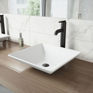 VIGO Matira Composite Vessel Sink and Seville Bathroom Vessel Faucet in Matte Black