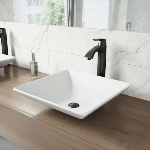 VIGO Hibiscus White Vessel Bathroom Sink Set with Linus Faucet