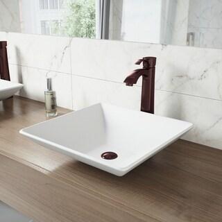VIGO Matira Matte Stone Vessel Sink and Otis Bathroom Vessel Faucet in Oil Rubbed Bronze
