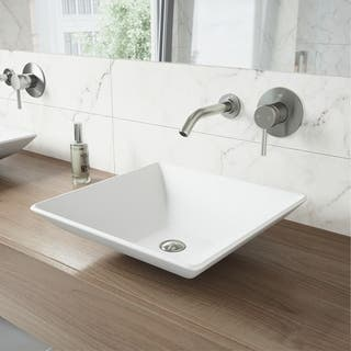 VIGO Hibiscus Matte Stone Vessel Sink and Olus Brushed Nickel Finish Single Lever Wall Mount Faucet https://ak1.ostkcdn.com/images/products/10192930/P17317944.jpg?impolicy=medium