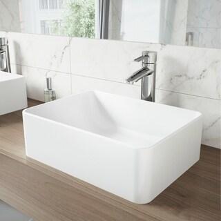 VIGO Caladesi Matte Stone Vessel Sink and Shadow Bathroom Vessel Faucet in Chrome - White