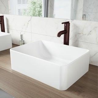 VIGO Amaryllis Matte Stone Vessel Bathroom Sink Set and Seville Faucet