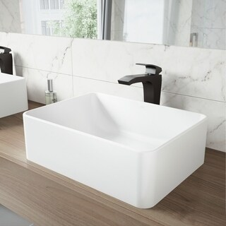 VIGO Amaryllis Matte Stone Vessel Sink and Blackstonian Bathroom Vessel Faucet