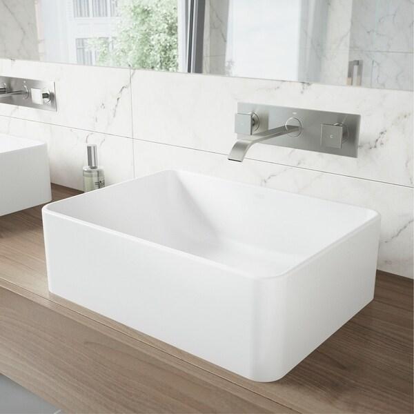VIGO Amaryllis Matte Stone Bathroom Sink and Titus Wall Mount Faucet