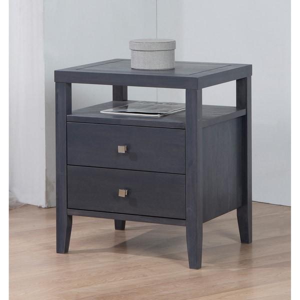 Jasper Laine Aristo Dark Grey 2-drawer Nightstand