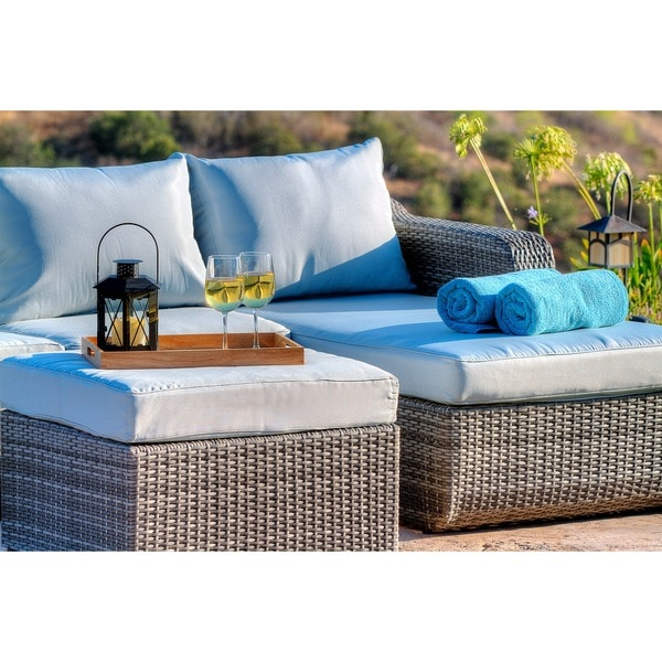 Perfect The Hom Luies 3 Piece All Weather Wicker Patio Conversation Set   Free  Shipping Today   Overstock.com   17317985