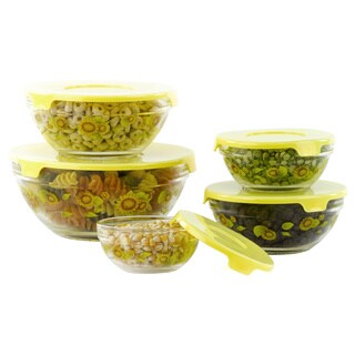 Multi-Purpose Glassbowls with Yellow Sunflowers 5-piece Set