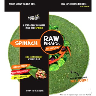 Green Leaf Foods Spinach Raw Wraps, 3.5 ounces (Case of 6)