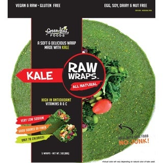 Green Leaf Foods Raw Wraps, Kale, 3 ounces (Case of 6)
