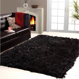 Affinity Home Collection Cozy Shag Area Rug (5 x 8) (Black - 5 x 8)