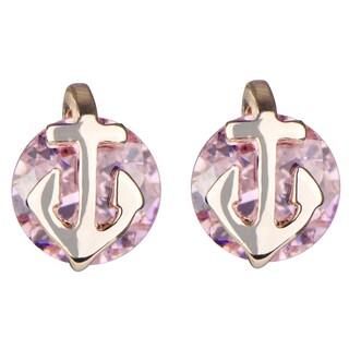 Brass Pink Anchor Cubic Zirconia Stud Earrings