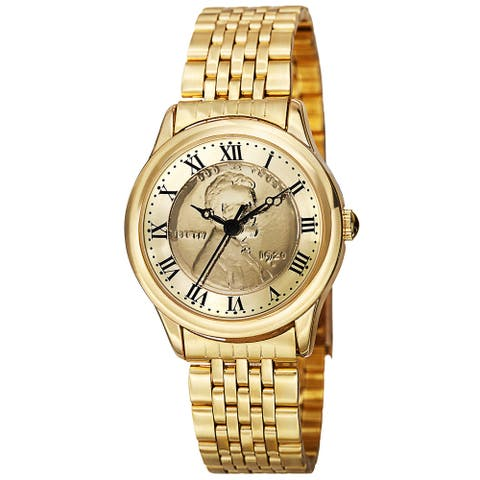 August Steiner Women's Quartz Wheat Penny Coin Steel Gold-Tone Bracelet Watch - Gold