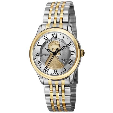 August Steiner Women's Quartz Wheat Penny Coin Steel Two-Tone Bracelet Watch