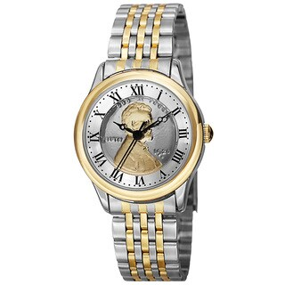 August Steiner Women's Quartz Wheat Penny Coin Steel Two-Tone Bracelet Watch