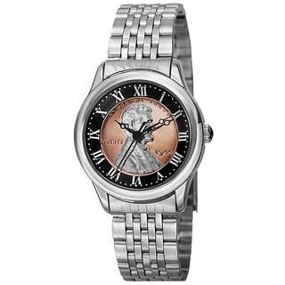 August Steiner Women's Quartz Wheat Penny Coin Steel Silver-Tone Bracelet Watch