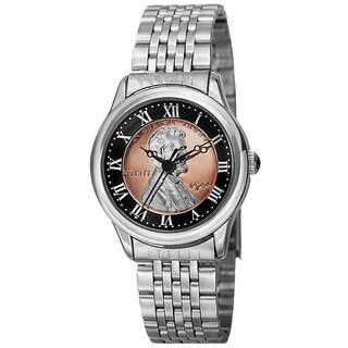 August Steiner Women's Quartz Wheat Penny Coin Steel Silver-Tone Bracelet Watch - silver