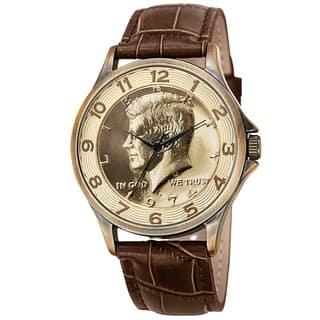 August Steiner Men's Quartz Kennedy Half Dollar Coin Leather Gold-Tone Strap Watch|https://ak1.ostkcdn.com/images/products/10194634/P17319388.jpg?impolicy=medium