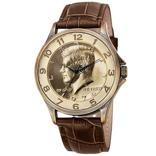 August Steiner Men's Quartz Kennedy Half Dollar Coin Leather Gold-Tone Strap Watch