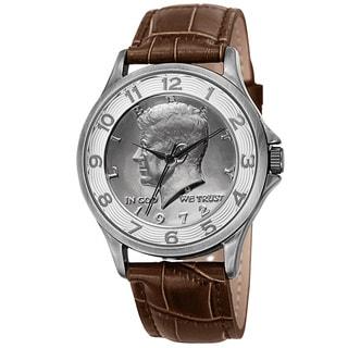 August Steiner Men's Quartz Kennedy Half Dollar Coin Leather Silver-Tone Strap Watch