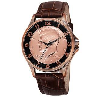 August Steiner Men's Quartz Kennedy Half Dollar Coin Leather Strap Watch