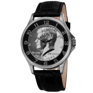 August Steiner Men's Quartz Kennedy Half Dollar Coin Leather Black Strap Watch