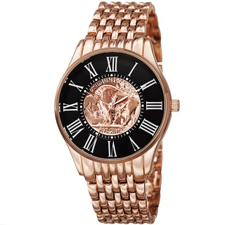 August Steiner Men's Quartz Buffalo Nickel Coin Dial Rose-Tone Bracelet Watch