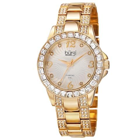 d5339cfce8 Burgi Women's Quartz Diamond Markers Crystal-accented Bracelet Watch