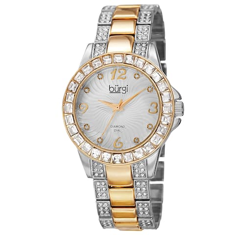 515a98eeface Burgi Women s Quartz Diamond Markers Crystal-Accented Two-Tone Bracelet  Watch