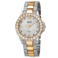 Burgi Women's Quartz Diamond Markers Crystal-Accented Two-Tone Bracelet Watch