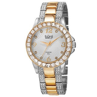 Burgi Women's Quartz Diamond Markers Crystal-Accented Two-Tone Bracelet Watch with FREE Bangle