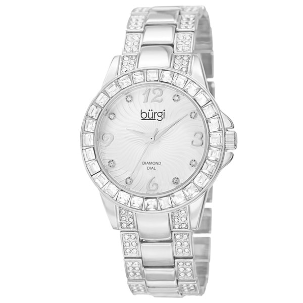 Burgi Women's Quartz Diamond Markers Crystal-Accented Silver-Tone Bracelet Watch with FREE GIFT - Silver