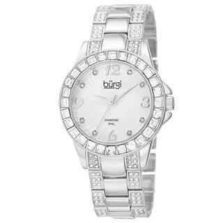 Burgi Women's Quartz Diamond Markers Crystal-Accented Silver-Tone Bracelet Watch