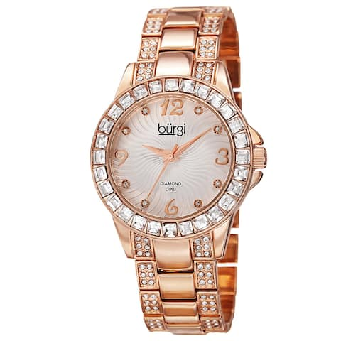 Burgi Women's Quartz Diamond Markers Crystal-Accented Rose-Tone Bracelet Watch - GOLD