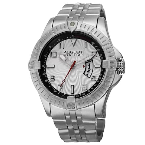 August Steiner Men's Swiss Quartz Date Indicator Tachymeter Silver-Tone Bracelet Watch - silver