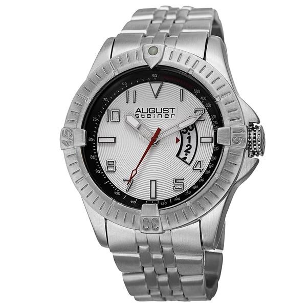 August Steiner Men's Swiss Quartz Date Indicator Tachymeter Silver-Tone Bracelet Watch - silver. Opens flyout.