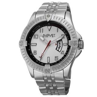 August Steiner Men's Swiss Quartz Date Indicator Tachymeter Silver-Tone Bracelet Watch