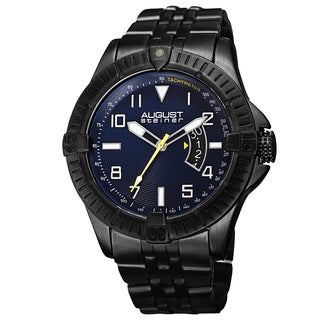 August Steiner Men's Swiss Quartz Date Indicator Tachymeter Black Bracelet Watch