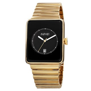August Steiner Men's Classic Rectangular Case Quartz Gold-Tone Bracelet Watch